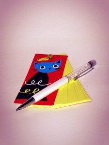 The standard-issue kitty notepad & sparkly pen